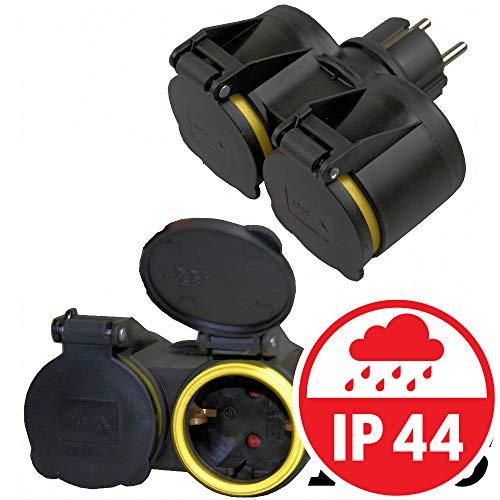 Benson dubbel stopcontact 230 V met IP44 stopcontacten | voor camping, werkplaats, garage
