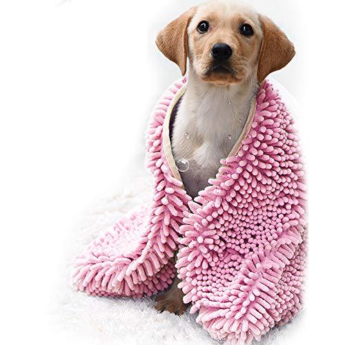 BLEVET Badetuch Hundebademantel Super Saugfähiges Microfiber Bademantel für Hunde und Katzen MZ082 (S:35x60cm, Pink)