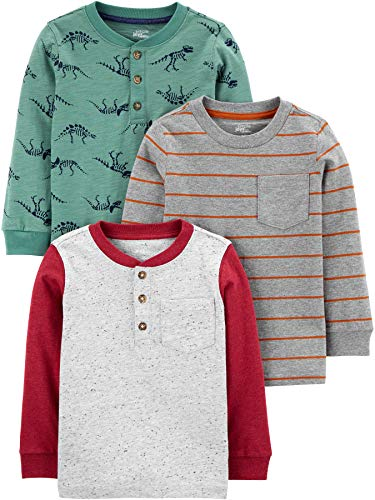 Simple Joys by Carter's 3er-Pack Langarmshirts Infant-and-Toddler-Shirts, Dino-Streifen, 18 Months