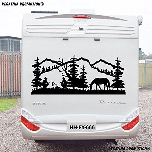 """Landschaft Natur Cowboy Aufkleber \""""Größe 130x60 cm\"""" für Wohnmobil Wohnwagen Womo WOWA Caravan Lustige Sprüche lustiger Spruch von Pegatina Promotion ®"""