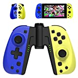 Hohhon Replacement Controllers for Nintendo Switch Joycon with Middle Grip, Programmable Button, Turbo, Motion Control & Dual Shock, Alternative to Switch and Switch Lite Remote (Blue/Yellow)