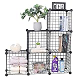 YCOCO Wire Storage Cubes,Metal Grids Bookshelf,Modular Shelving Units, Stackable Bookcase,Cube Storage 6-Cube Closet Organizer Storage Shelves for Home,Office, Kids Room,Black