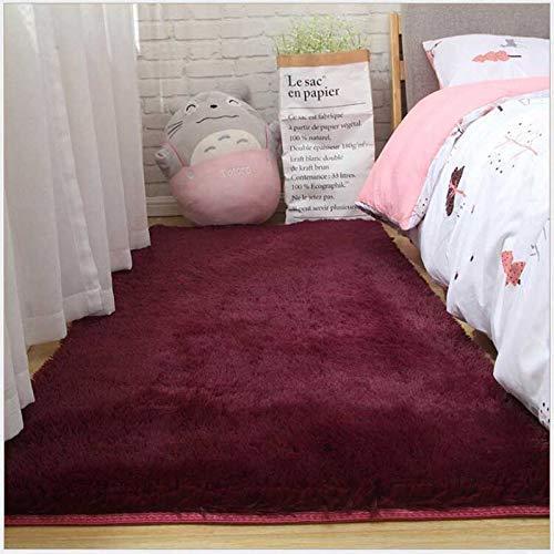 ZWWZ Shaggy Teppich seidig, Plüsch, Massivfarbe, Moderne däule; COR, plüsch, für Wohnzimmer, Sofa, spazieren, Schlafzimmer (Couleur: Wein rot, schillle: 80x120 cm) HAIKE