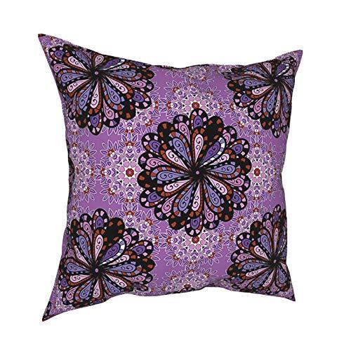Q&SZ Sweatshirt Purple Mandala Vintage Ethnic Beauty Petal Elegance Boho Round Inspiration Design Black Redwood Violet Various Specifications Fashion Pillow - No Inserts Included