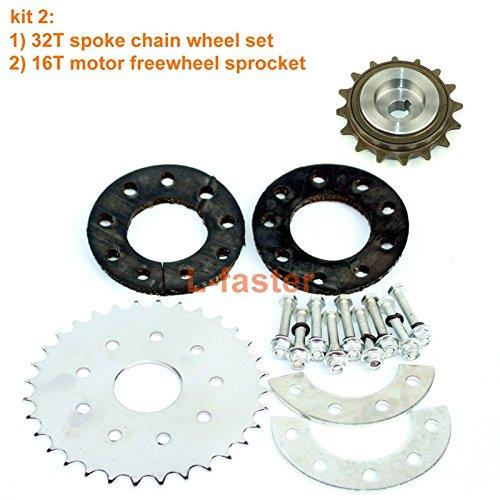 bicicletta parlò catena ruota posteriore; sprocket bici per la sinistra motore kit 16t incosciente con adattatore per il motore my1016z (kit 2)