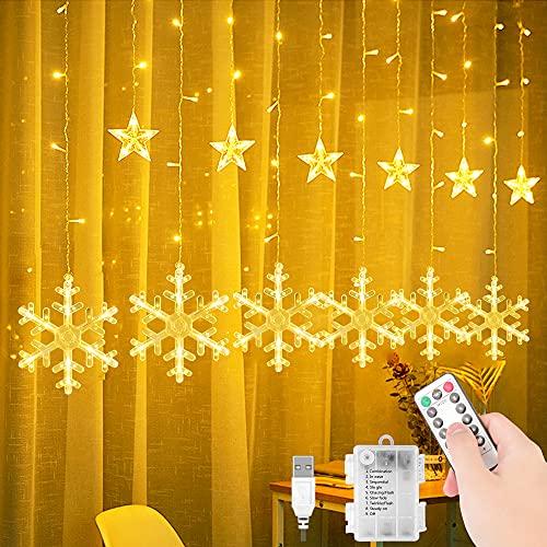 Luces de Cortina de Estrella, 138LEDs 3.5M Estrellas Copos de Nieve Guirnalda, Led Cortina Cadena de Luces, 8 Modos Ajustables Guirnaldas Luminosas de Cortina para Bodas, Navidad, Interior y Exterior