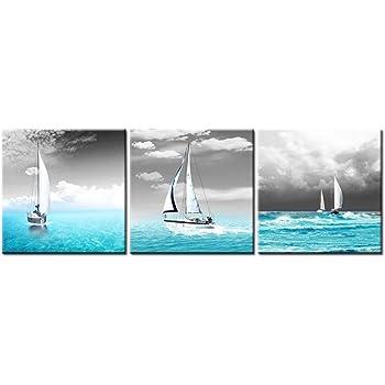 Paysage Marin Canvas It Up Noir Blanc Dinky Bateau Impressions sur Toile D/écoration Murale D/écoration Photos Posters