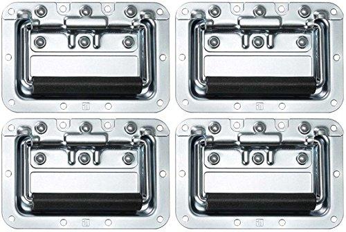 Adam Hall Hardware 34082 M4 AH - 4er Set Klappgriff / Kistengriff gefedert silber in 8 mm Einbauschale