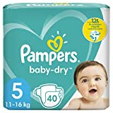 Couches Pampers Taille 5 (11-16kg) - Baby-Dry , 40 Couches, Jusqu'À 12 h De Protection