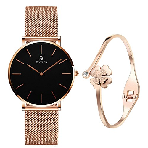 XLORDX Classic Damen-Armbanduhr Analog Quarz Rosegold Edelstahl Armband, Schwarz Zifferblatt mit Elegant...