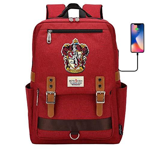 Hogwarts College Mochila, Harry Potter Laptop School Bag, Moda Casual Travel Rucksack Gryffindor Rojo