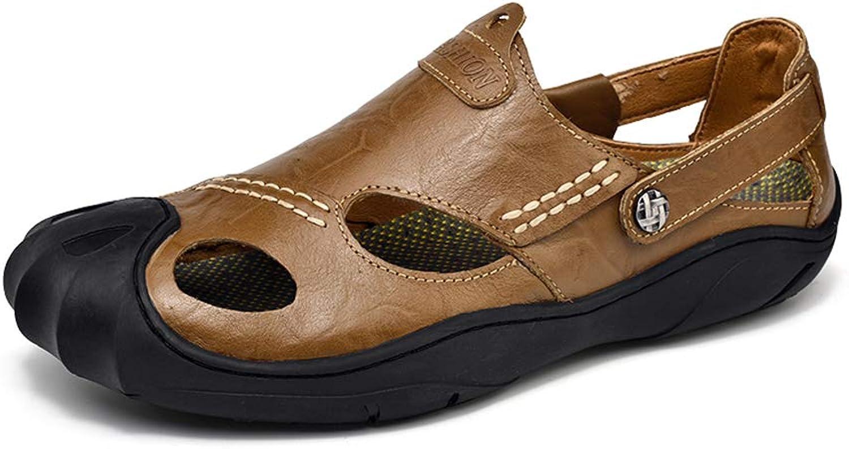 Men's Retro Leisure Sandals Cozy Non-slip Crash Baotou Beach shoes Soft Honeycomb Insole Outdoor Adventure Breathable shoes,khaki,46