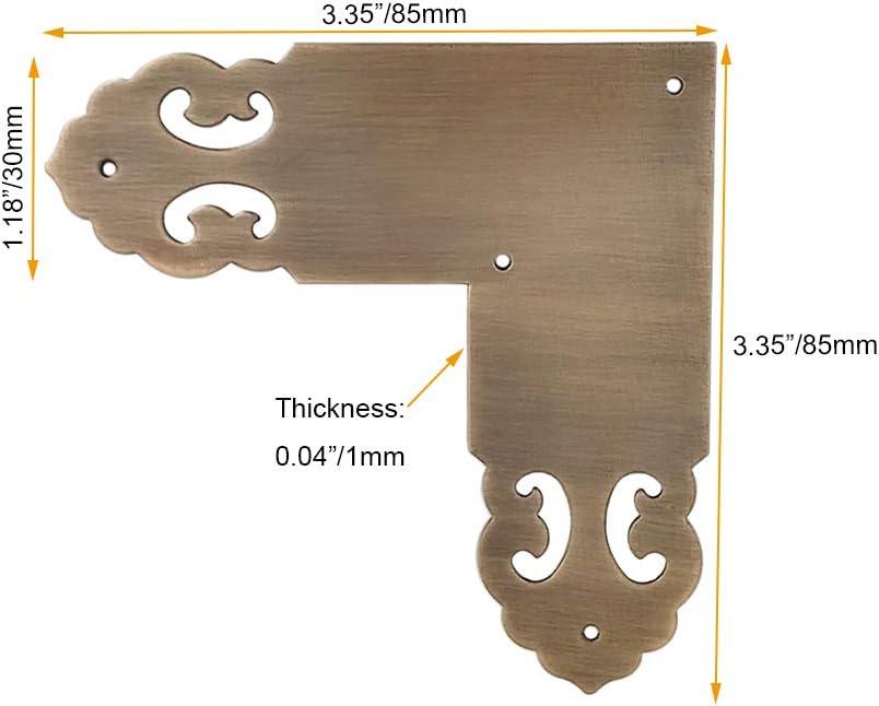 Tiazza 4 piezas de lat/ón antiguo muebles de cobre puro en forma de L protectores de esquina Tirantes Cl/ásico Simple Cobre Wrap Angular Hardware Accesorios