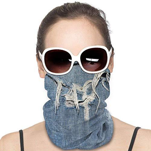 kasonj Denim Tattered Blue Jeans Bandana Face Neck Gaiter Face Scarf Mask Dust, Winddicht Atmungsaktiv Angeln Wandern Laufen Radfahren