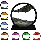 3D Dynamic Sand Art Liquid Motion, Moving Sand Art Picture Round Glass 3D Deep Sea Sandscape in Motion Display Flowing Sand Frame Relaxing Desktop Home Office Work Decor (Blue, 12'')