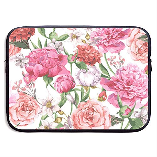 Laptop Bag Redsheep Laptop Sleeve Case,Garden Peony 13/15 Inch Laptop Sleeve Bag Waterproof Computer Case Tablet Carrying Case Cover Bags-Black-13inch,
