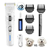 Dog Clippers 2-Speed Dog Grooming Kit, Dog Hair Trimmer, Cat Shaver, Low Noise Rechargeable Cordless Pet Clippers for Small Medium Large Dogs Cats