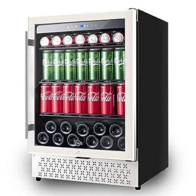 Beverage Refrigerator 24 Inch, 190 Can Built-in or Freestanding Beverage Cooler, Mini Fridge with Glass Door Drink Beer Fridge for Beer, Soda or Wine, LOW NOISE, 37-64?