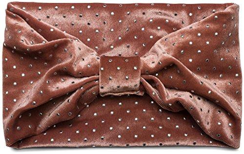 styleBREAKER Damen Samt Stirnband mit Schleife und Retro Punkte, Haarband, Headband 04026007, Farbe:Altrose