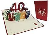 LIN - Pop Up 3D Tarjeta de felicitación por cumpleaños, Happy Birthday 40 años, (#18)