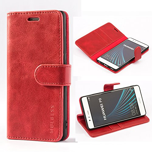 Mulbess Custodia per Huawei P9, Cover Huawei P9 Pelle, Flip Cover a Libro, Custodia Portafoglio per Huawei P9, Vino Rosso