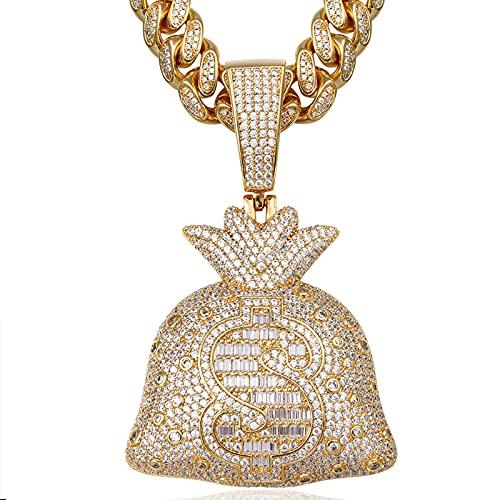 Hip Hop Bling Us Dollar Sign Colgante 90s Cz Collar de diamantes simulados en oro chapado en 18k para hombres con Iced Out 12 mm Miami Gargantilla Collar de cadena de eslabones cubanos