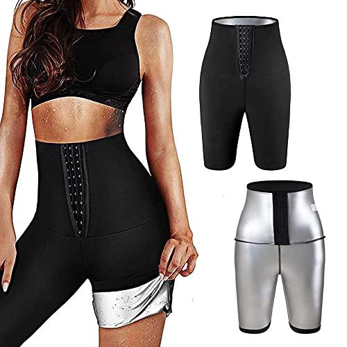 langjiao Pantalon de Yoga,Legging Anti Cellulite Fort Compression Thermique,Taille Ajustable,Legging Minceur,AccélérerTranspiration pour Perdre du Poids,btenir Ventre Plat (L/XL, Court)