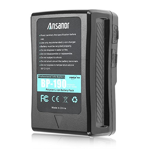 Ansanor® 13400mAh 14.8V V-Mount Battery and Charger for Video Camera Camcorder (190 Watt Hour)