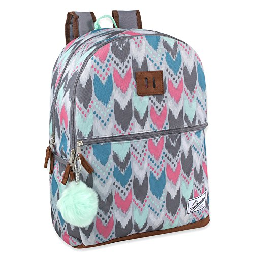 PATTERN BACKPACK FOR GIRLS: Fun colors and geometric shapes complement its comfy padded back and adjustable straps LASH TAB: Attach carabiner clip, keys, work or school ID, meal card, & more so you always have what you need when you need it LARGE CAP...