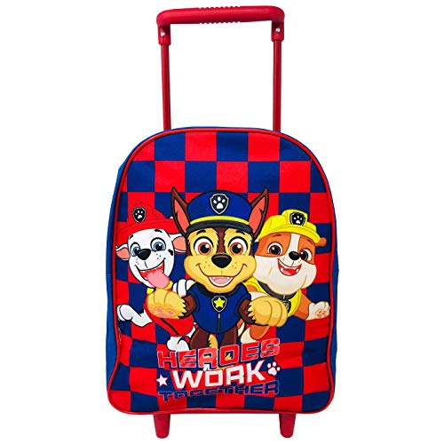 Children's Trolley Backpack Canine Patrol PW School Backpack with Wheels 35cm Backpack Chace Marshall Rubble, Blue Color