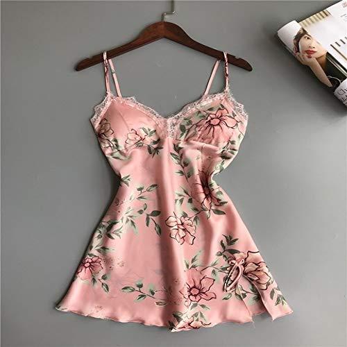 Handaxian Damen Schlafanzug Satin Seide Home Service Lace Gown Brustpolster Pink Weiß 3-teiliges Set Sleepshirts pink M