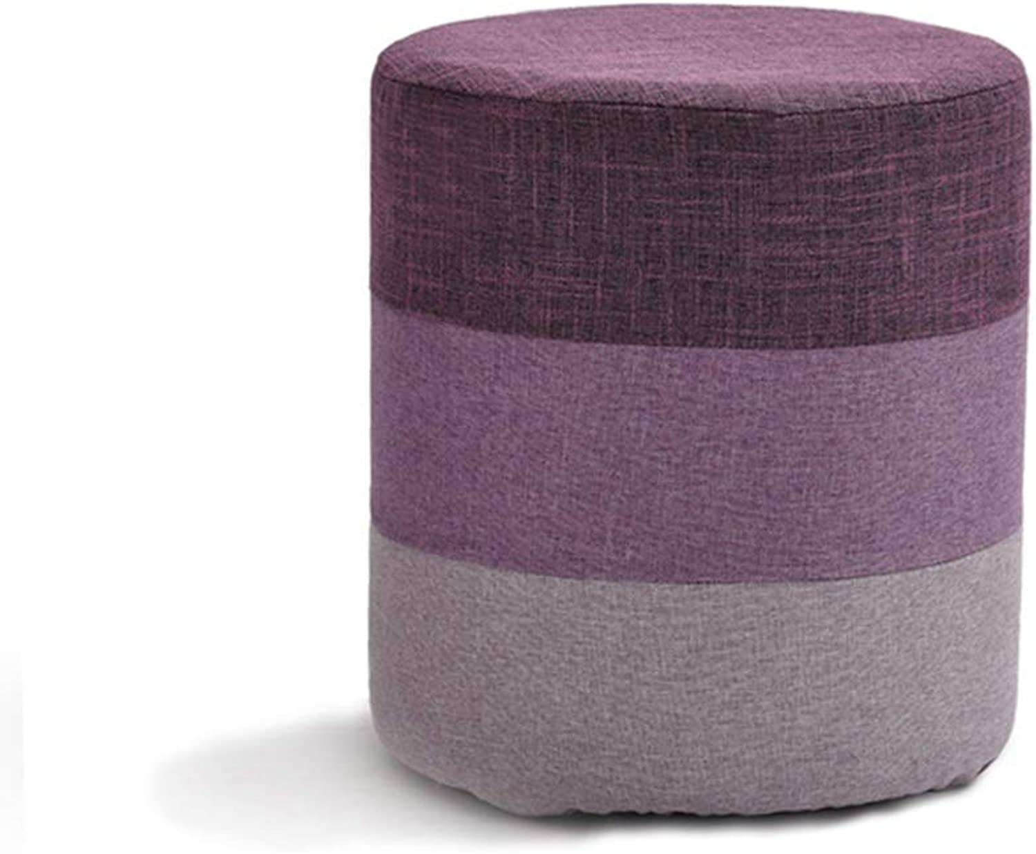 Stool Fabric Creative Stool Home Sofa Stool Adult Door Change shoes Bench Fashion Small Bench ZHANGQIANG (color   Purple, Size   Cylindrical)