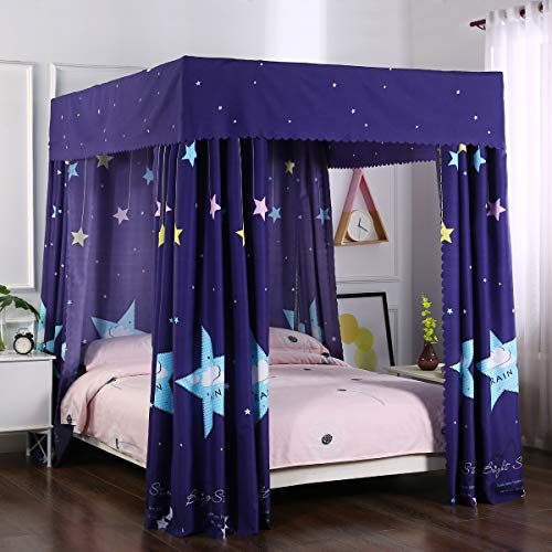 Mengersi Galaxy Star Four Corner Post Bed Curtain Canopy Bedroom Decoration for Girls Adults Windproof Lightproof Bed Canopies Child Gift (Twin,Navy Star)