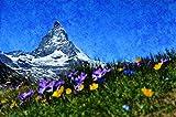 PBNUMBERS Paint by Numbers Kits Matterhorn Alpine Zermatt Mountains DIY Oil Painting Linen Canvas Color Talk Home Wall Decor for Adults Beginner 16X20 Inch (Frameless)