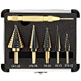 COMOWARE Step Drill Bit Set & Automatic Center Punch- Black and Gold,...