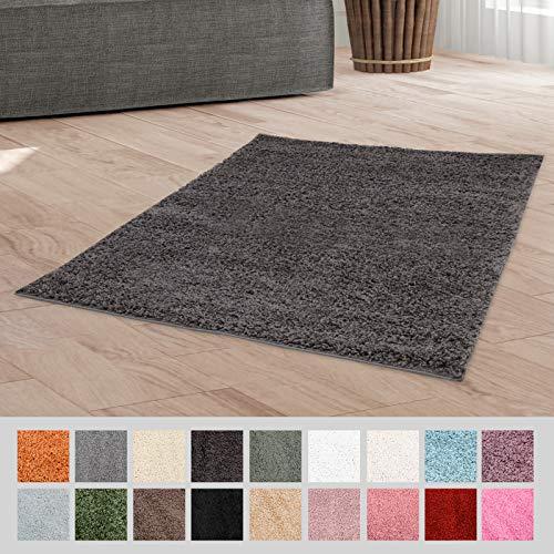 Taracarpet Hochflor Langflor Shaggy Teppich geeignet für Wohnzimmer Kinderzimmer und Schlafzimmer flauschig und pflegeleicht dunkelgrau 060x090 cm