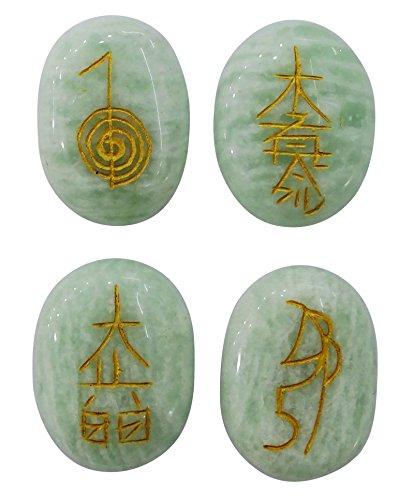 Harmonize Aventurina Conjunto de Piedra de 4 Piezas de Karuna Reiki Símbolo de Cristal de Equilibrio Regalo Espiritual