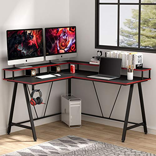 Tribesigns L-Shaped Desk with Shelf, Corner Computer Gaming Desk with Monitor Stand for Home Office and Gamer, Large PC Laptop Study Writing Table Workstation