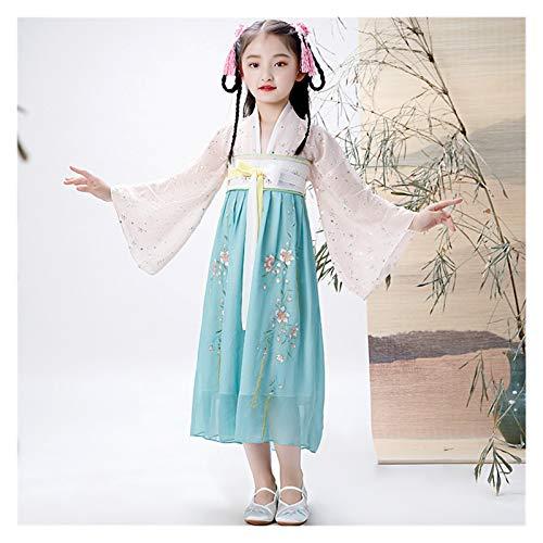 Migliorato ragazza fata vestito per bambini Hanfu Quotidiano Fata Abito Stile Cinese Ricamato Costume Antico (Colore: Stile J, Dimensioni: 120cm)
