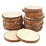 MAOM Natural Wood Slices 20 Pcs 3.5'-4.0' Round Wood Discs Tree Bark Wooden Circles for DIY Crafting Coasters Arts Crafts Home Decorations Vintage Wedding Ornaments