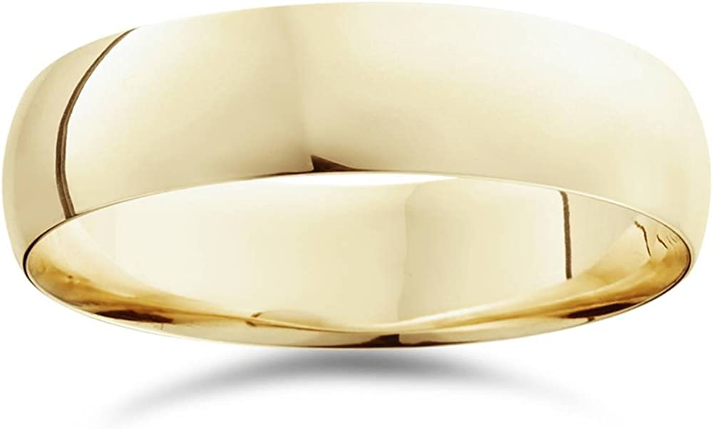 6mm Dome High Polished Wedding Band 10K Yellow Gold Comfort Fit Plain Ring