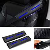 DBL 2-Pack Carbon Fiber Seat Belt Cover Shoulder Pad for Ford Escape KA Fiesta ST B-max Focus ST RS C-MAX Ecosport Kuga Edge Mondeo Mustang S-max Galaxy Touraeo Courier Explorer (Blue)