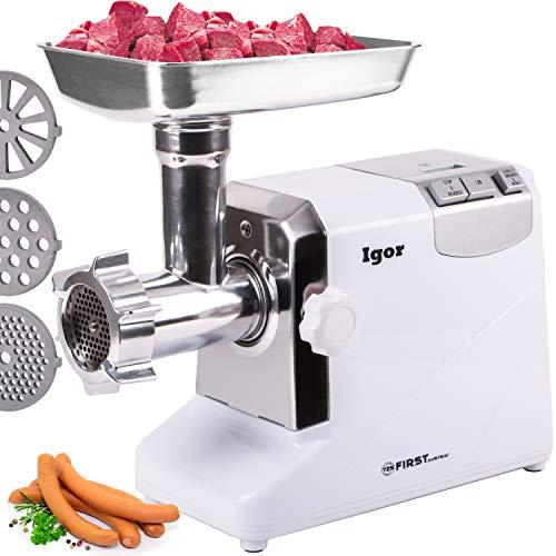 Picadora de carne eléctrica de 1800 W con engranaje de metal 3 discos de corte   FA-5140  TZS First Austria   Picadora de carne automática  
