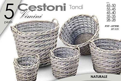 Gicos Set 5 ceste tonde cestini in Vimini Intrecciato cesta con Manici Multiuso bf026