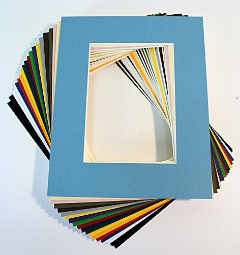topseller100, Pack of 20 Mixed Colors 8x10 Picture Mats Matting with White Core Bevel Cut for 5x7 Pictures