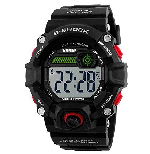 Oumosi Herren Militär Sport Armbanduhren Fashion Wasserdicht Talking Watch für Blinde rot