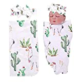 PROBABY Newborn Baby Swaddle Blanket Cactus and Llama Print with Headband,Receiving Blankets for Baby (One Size, E)