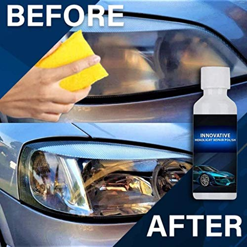 2PCS Innovative Car Headlights Polish Car Repair Fluid Liquid Lamp Renovation - Advance Car Repair Kit Scheinwerfer-Restaurierungs-Beschichtungsset 20 ml (im Lieferumfang enthaltener Schwamm)