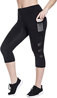 High Waisted Cropped Workout Leggings for Women with Pockets Mesh Capri Yoga Pants Gym Tights