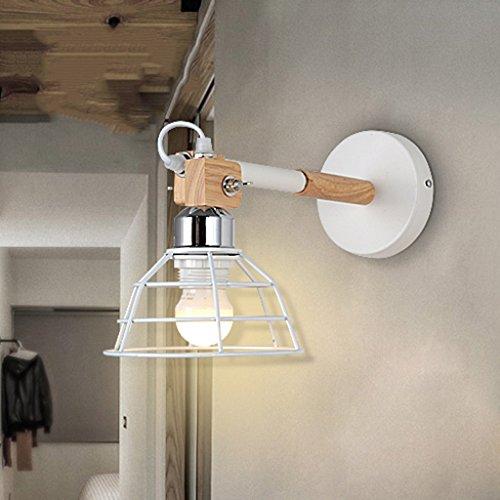Lámpara creativa para dormitorio minimalista, pasillo, retro, industrial, pequeña lámpara de pared de hierro A+